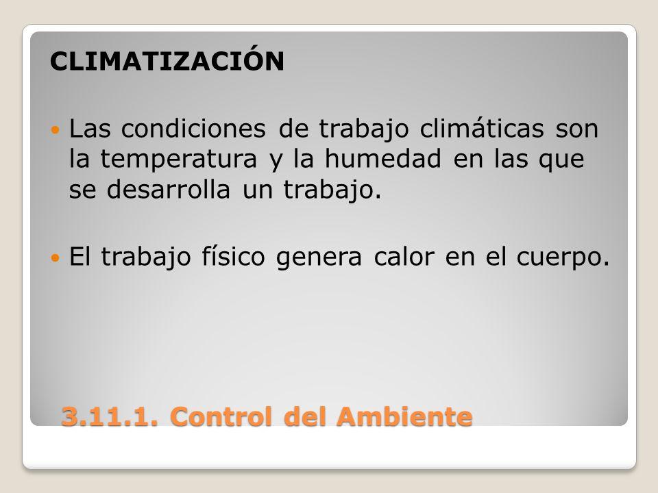 CLIMATIZACIÓNLas condiciones de trabajo climáticas son la temperatura y la humedad en las que se desarrolla un trabajo.