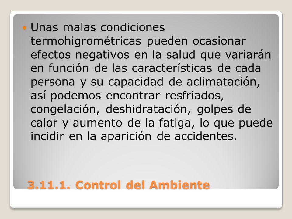 Unas malas condiciones termohigrométricas pueden ocasionar efectos negativos en la salud que variarán en función de las características de cada persona y su capacidad de aclimatación, así podemos encontrar resfriados, congelación, deshidratación, golpes de calor y aumento de la fatiga, lo que puede incidir en la aparición de accidentes.