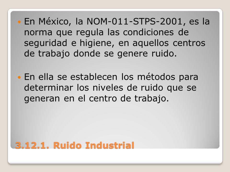 En México, la NOM-011-STPS-2001, es la norma que regula las condiciones de seguridad e higiene, en aquellos centros de trabajo donde se genere ruido.