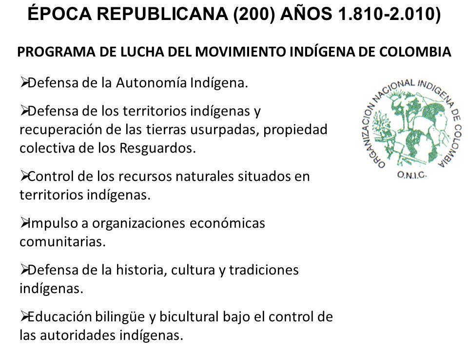 PROGRAMA DE LUCHA DEL MOVIMIENTO INDÍGENA DE COLOMBIA