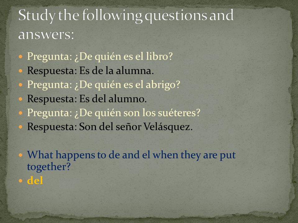Study the following questions and answers: