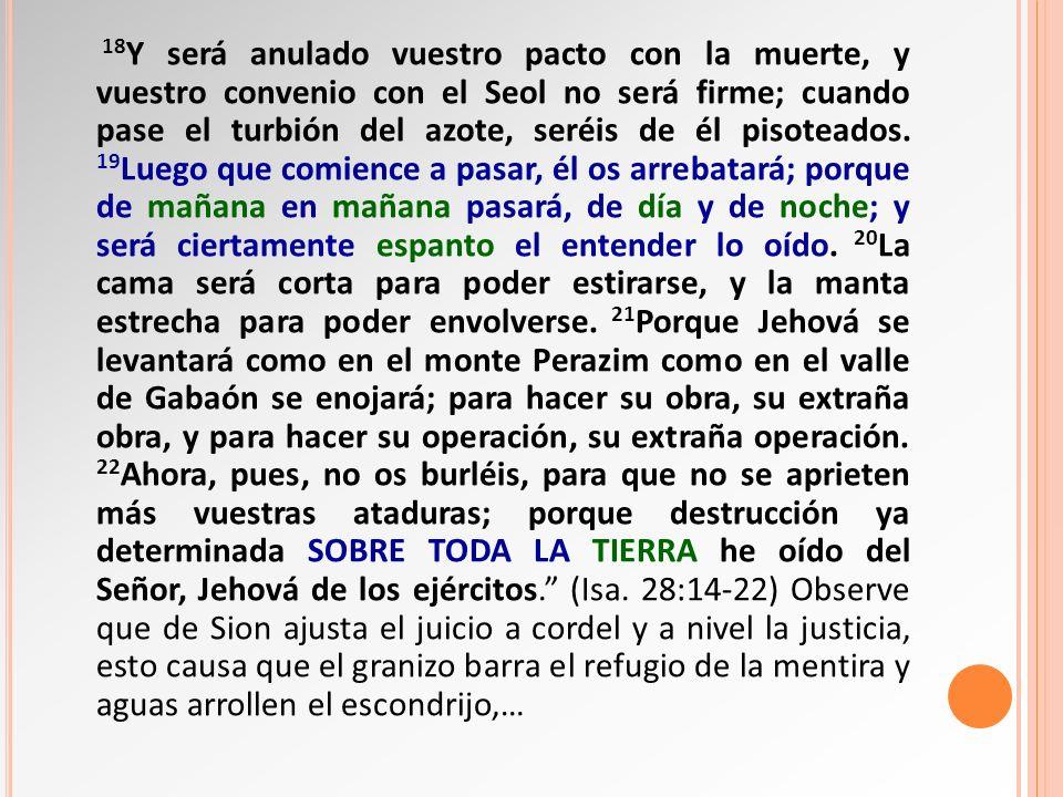 18Y será anulado vuestro pacto con la muerte, y vuestro convenio con el Seol no será firme; cuando pase el turbión del azote, seréis de él pisoteados.