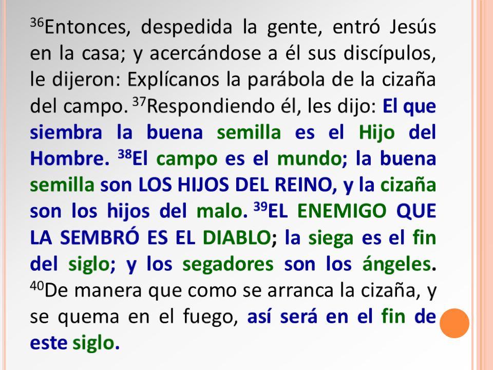 36Entonces, despedida la gente, entró Jesús en la casa; y acercándose a él sus discípulos, le dijeron: Explícanos la parábola de la cizaña del campo.
