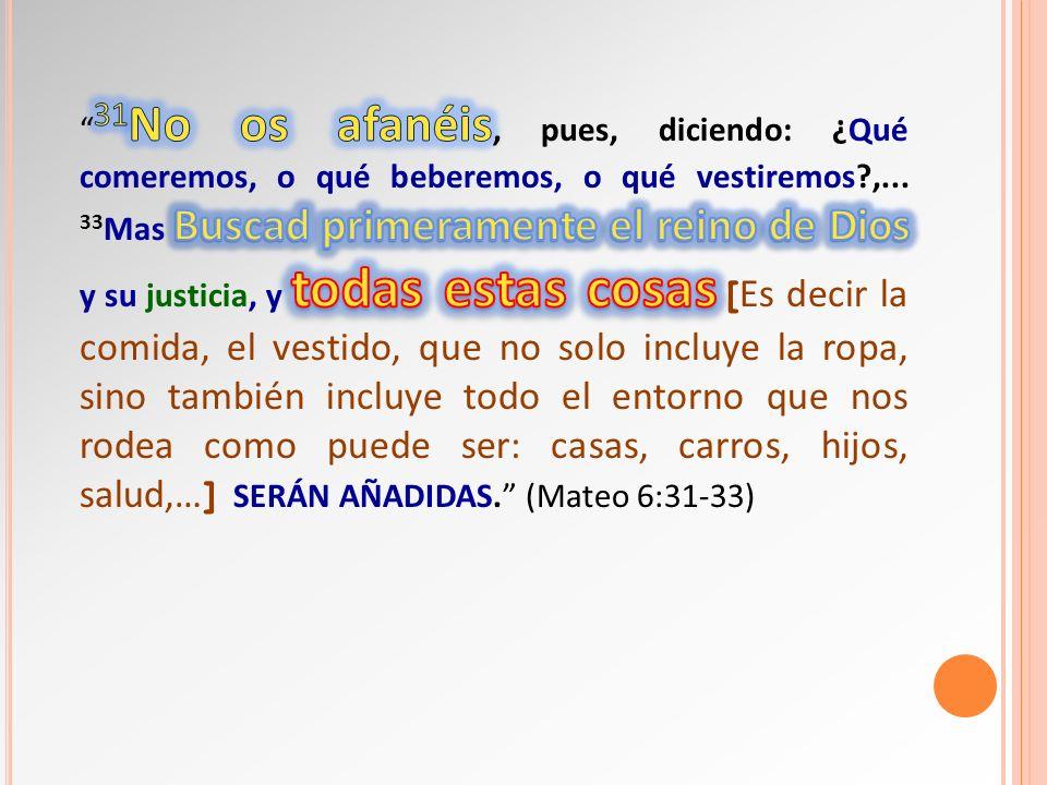 31No os afanéis, pues, diciendo: ¿Qué comeremos, o qué beberemos, o qué vestiremos ,...