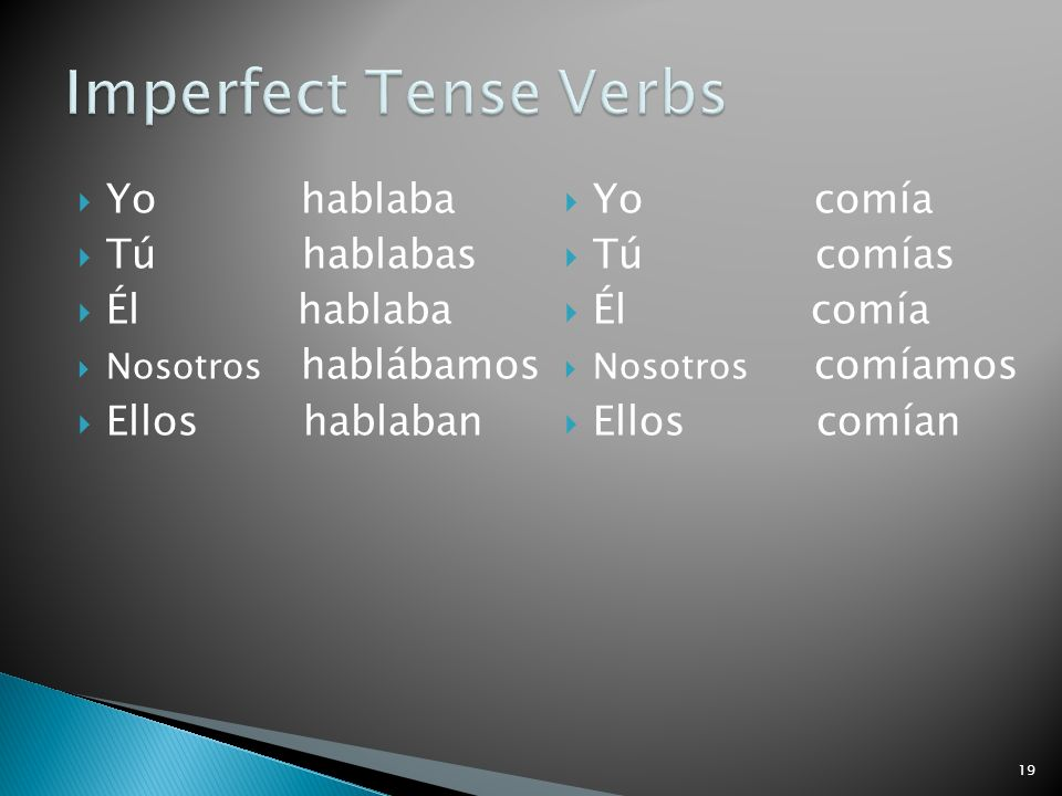 Imperfect Tense Verbs Yo hablaba Tú hablabas Él hablaba Ellos hablaban
