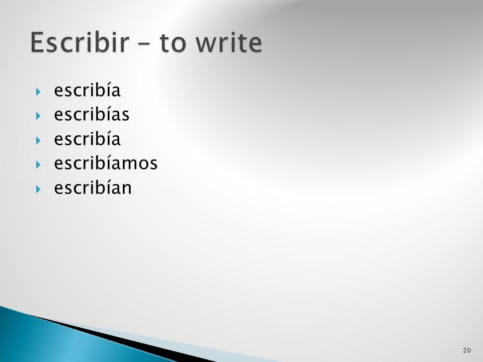 Escribir – to write escribía escribías escribíamos escribían