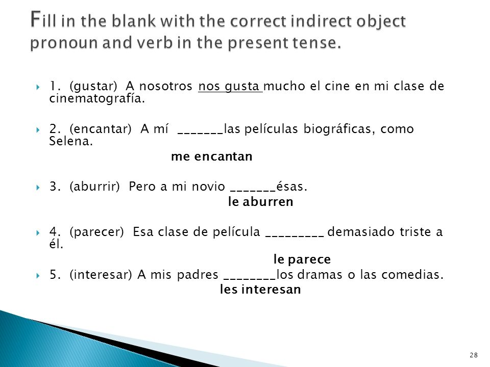 Fill in the blank with the correct indirect object pronoun and verb in the present tense.