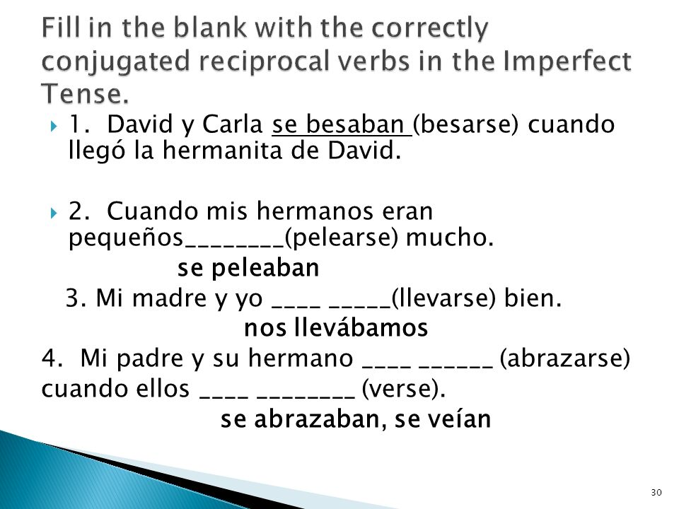 Fill in the blank with the correctly conjugated reciprocal verbs in the Imperfect Tense.