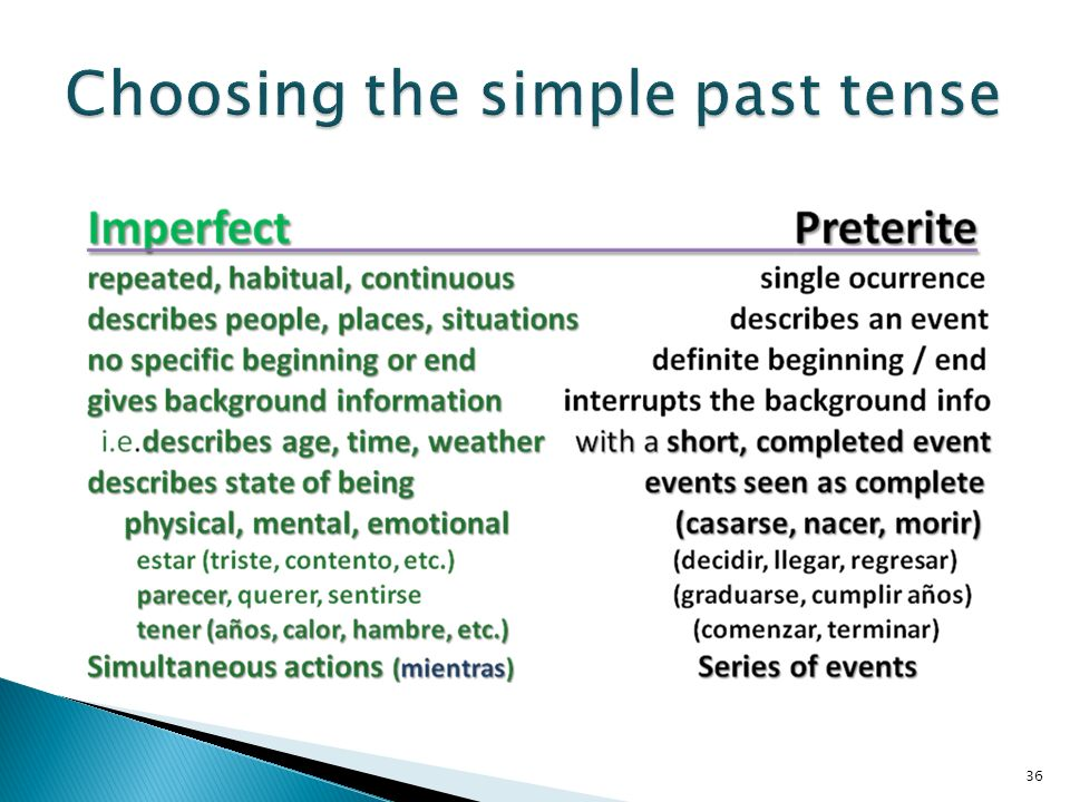 Choosing the simple past tense