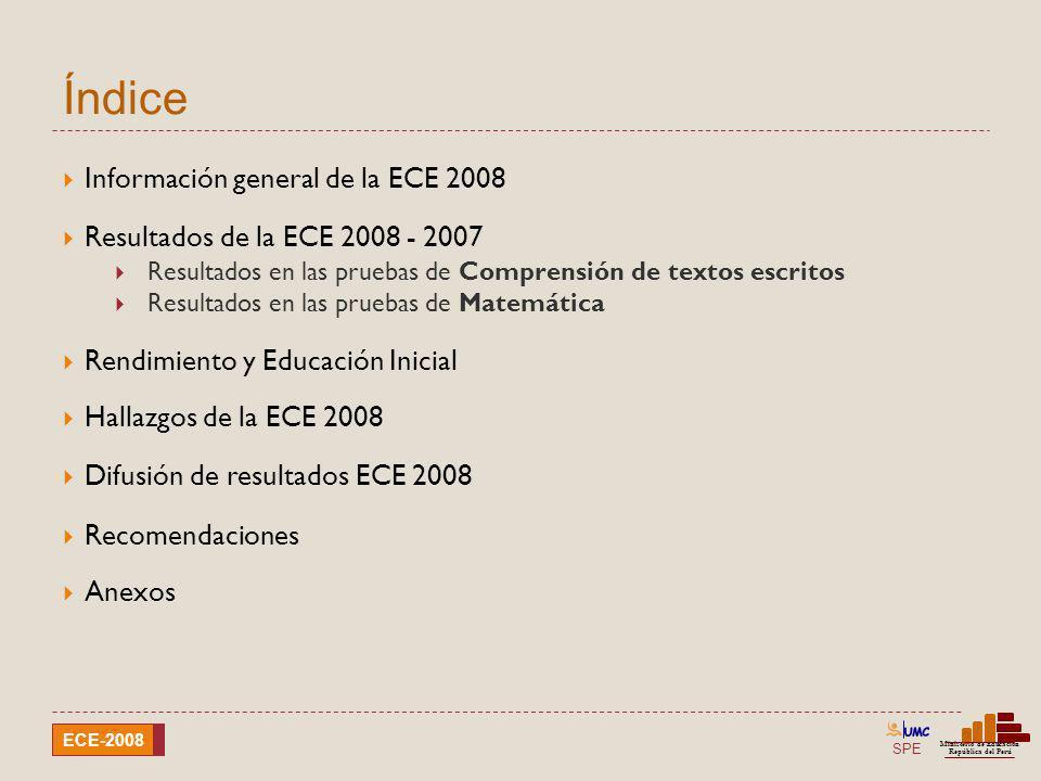 Índice Información general de la ECE 2008