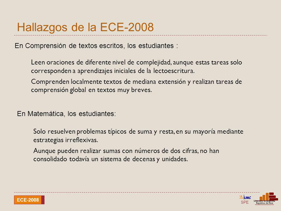 Hallazgos de la ECE-2008En Comprensión de textos escritos, los estudiantes :