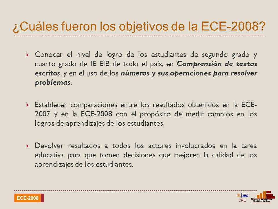 ¿Cuáles fueron los objetivos de la ECE-2008