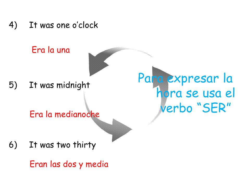 Para expresar la hora se usa el verbo SER