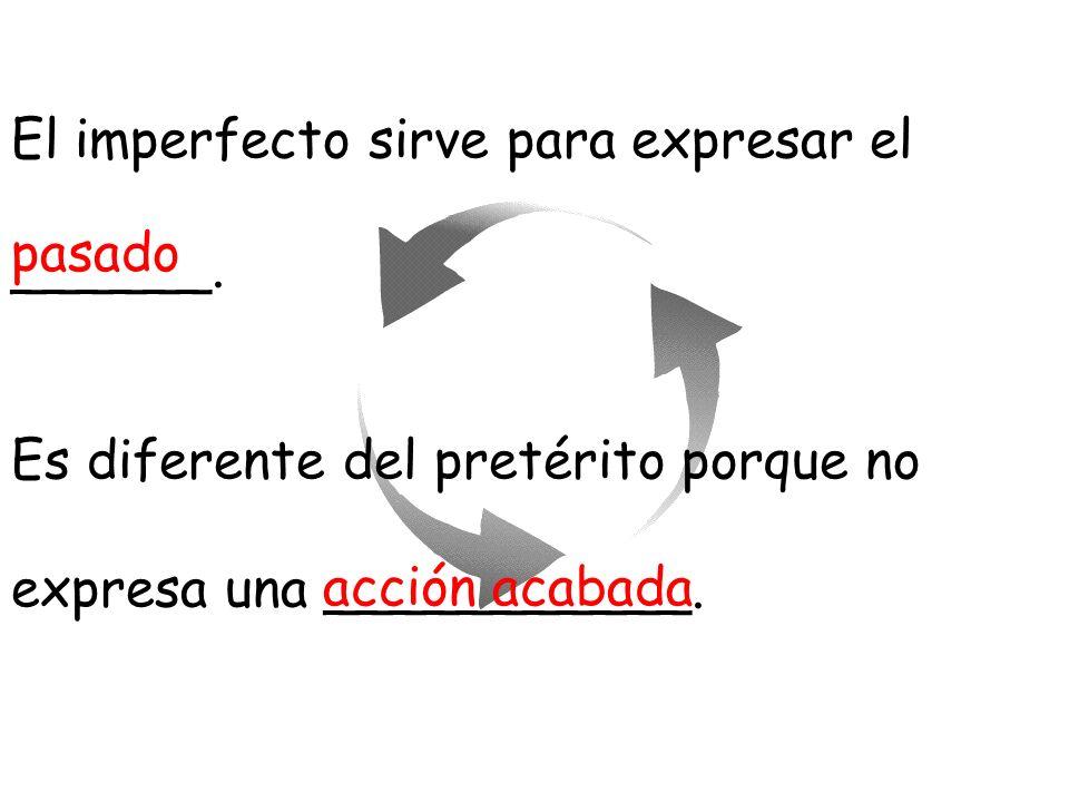 El imperfecto sirve para expresar el
