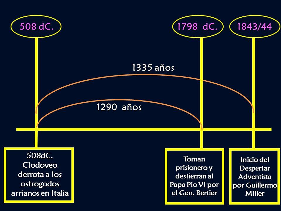 508 dC. 1798 dC. 1843/44. 1335 años. 1290 años. 508dC. Clodoveo derrota a los ostrogodos arrianos en Italia.