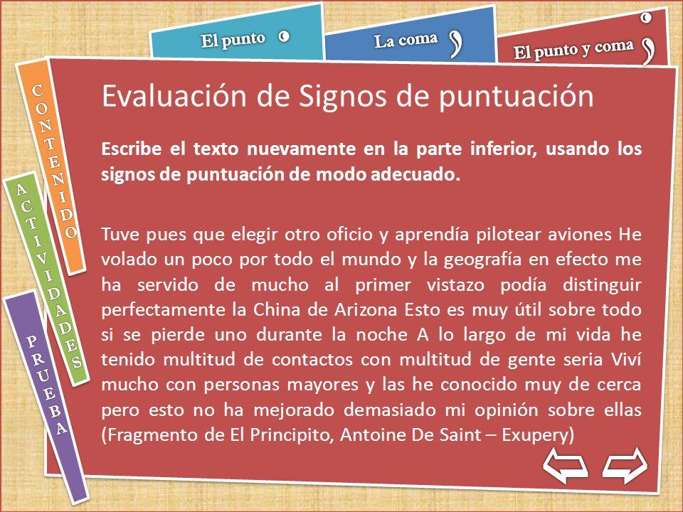 Evaluación de Signos de puntuación