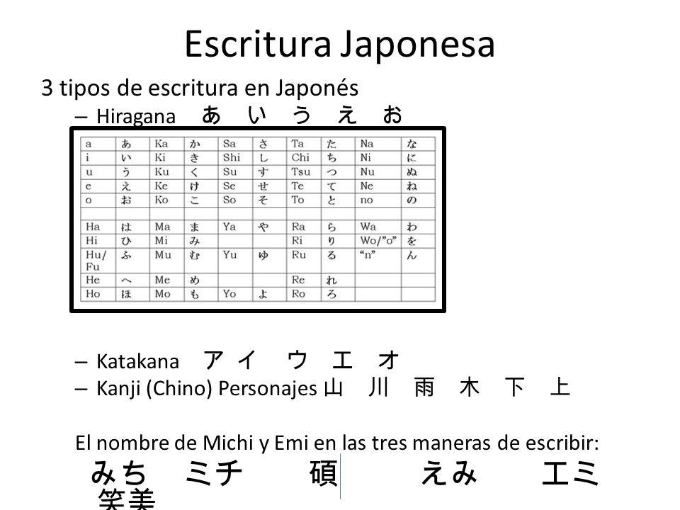 Escritura Japonesa みち ミチ 碩 えみ エミ 笑美 3 tipos de escritura en Japonés