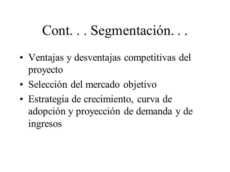 Cont. . . Segmentación. . .Ventajas y desventajas competitivas del proyecto. Selección del mercado objetivo.