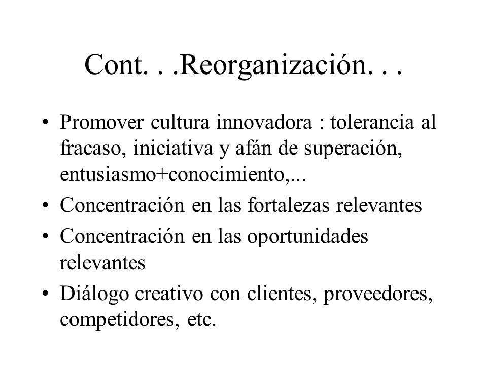 Cont. . .Reorganización. . .Promover cultura innovadora : tolerancia al fracaso, iniciativa y afán de superación, entusiasmo+conocimiento,...