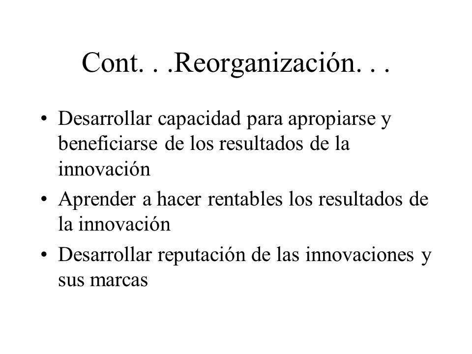 Cont. . .Reorganización. . . Desarrollar capacidad para apropiarse y beneficiarse de los resultados de la innovación.