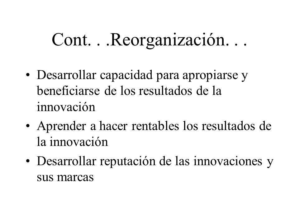 Cont. . .Reorganización. . .Desarrollar capacidad para apropiarse y beneficiarse de los resultados de la innovación.