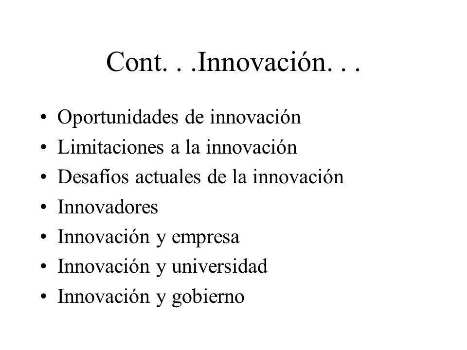 Cont. . .Innovación. . . Oportunidades de innovación