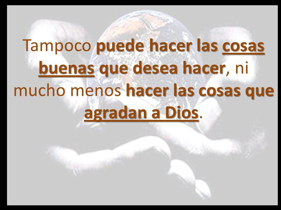 Tampoco puede hacer las cosas buenas que desea hacer, ni mucho menos hacer las cosas que agradan a Dios.