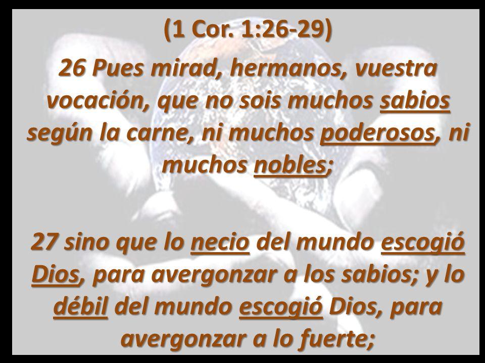 (1 Cor. 1:26-29) 26 Pues mirad, hermanos, vuestra vocación, que no sois muchos sabios según la carne, ni muchos poderosos, ni muchos nobles;