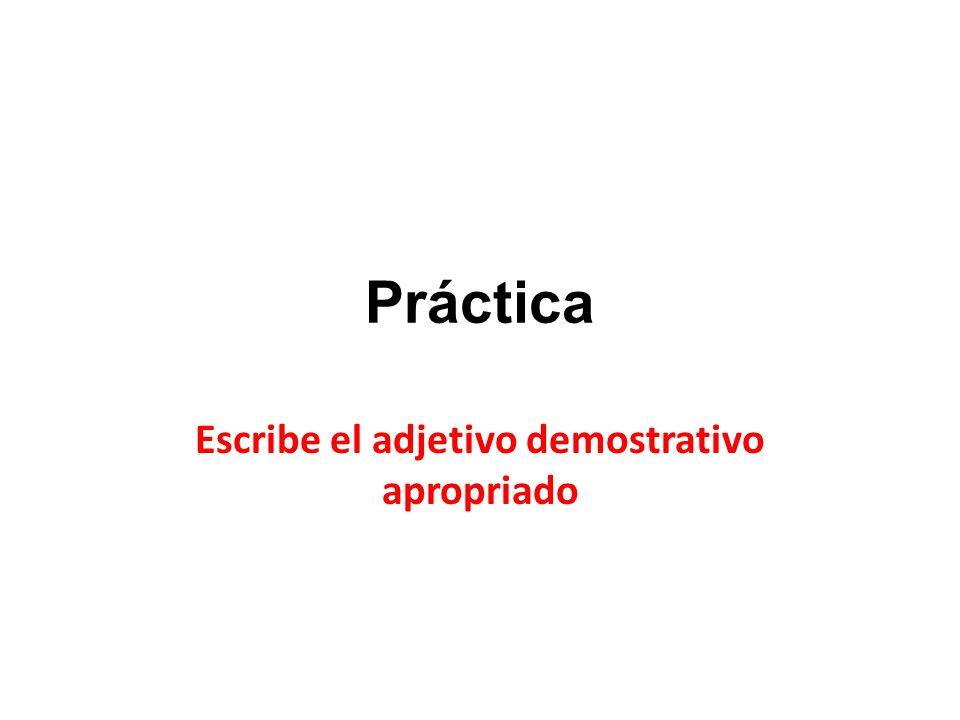 Escribe el adjetivo demostrativo apropriado
