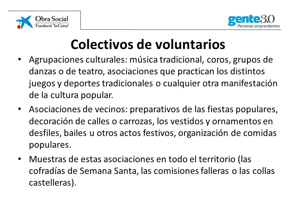 Colectivos de voluntarios