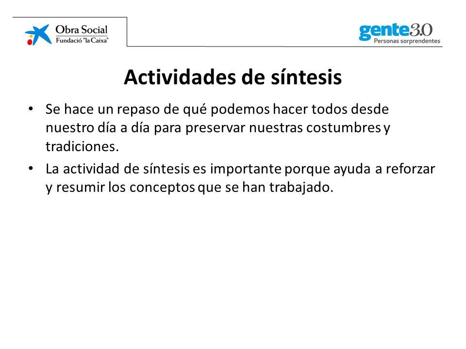 Actividades de síntesis