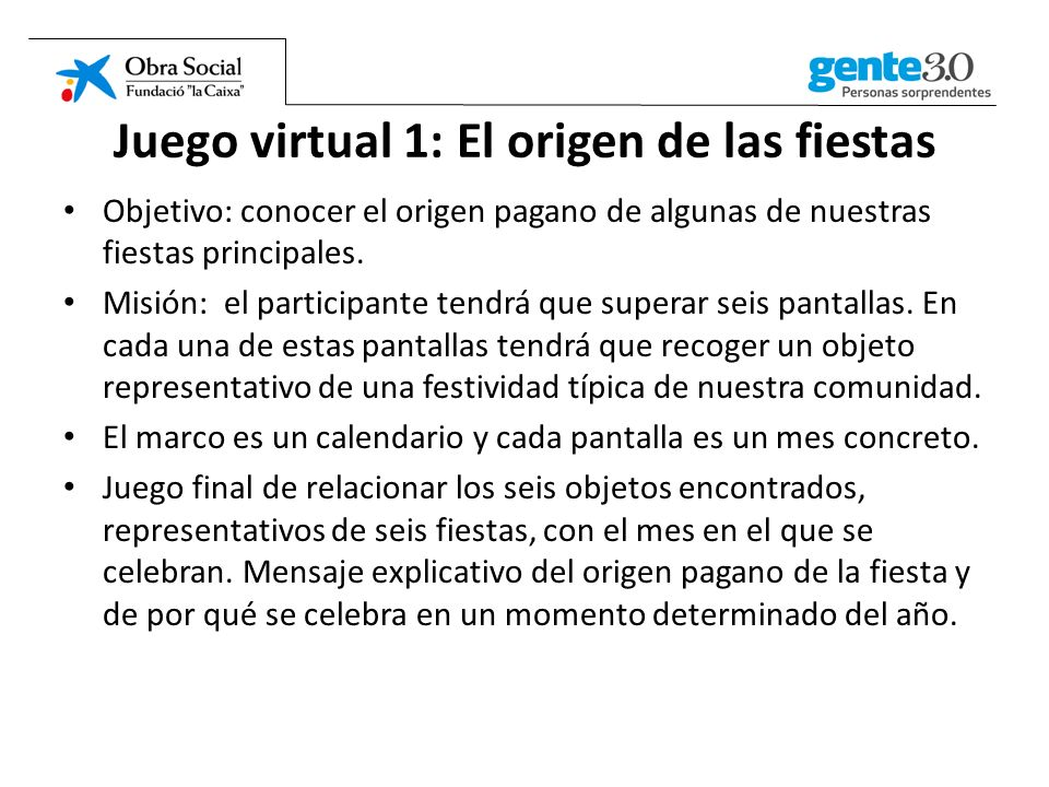Juego virtual 1: El origen de las fiestas