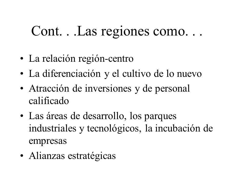 Cont. . .Las regiones como. . . La relación región-centro