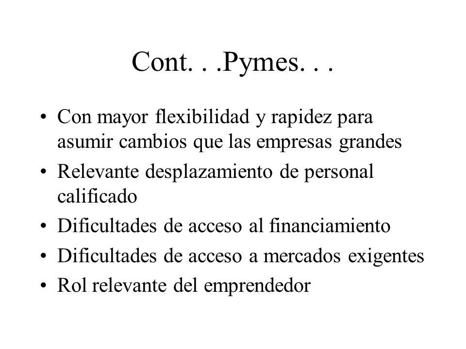 Cont. . .Pymes. . . Con mayor flexibilidad y rapidez para asumir cambios que las empresas grandes. Relevante desplazamiento de personal calificado.