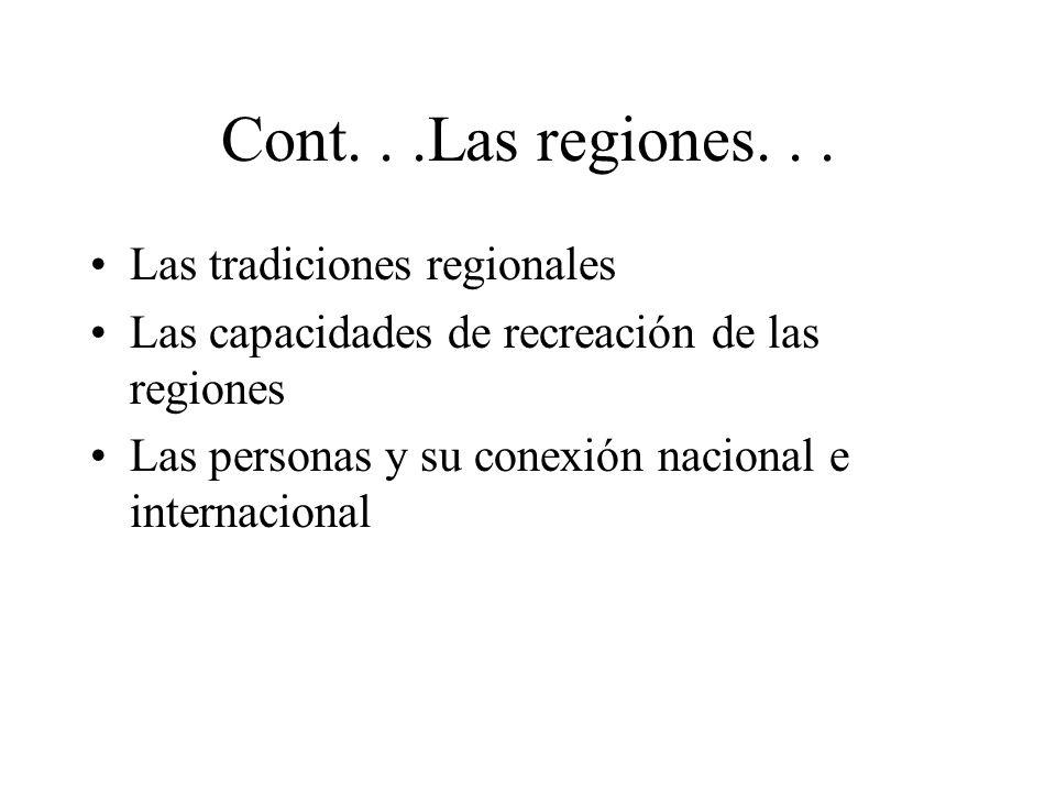 Cont. . .Las regiones. . . Las tradiciones regionales