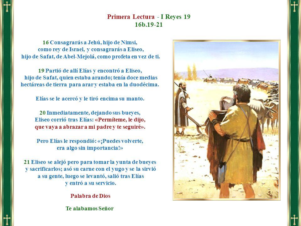 Primera Lectura - I Reyes 19 16b.19-21
