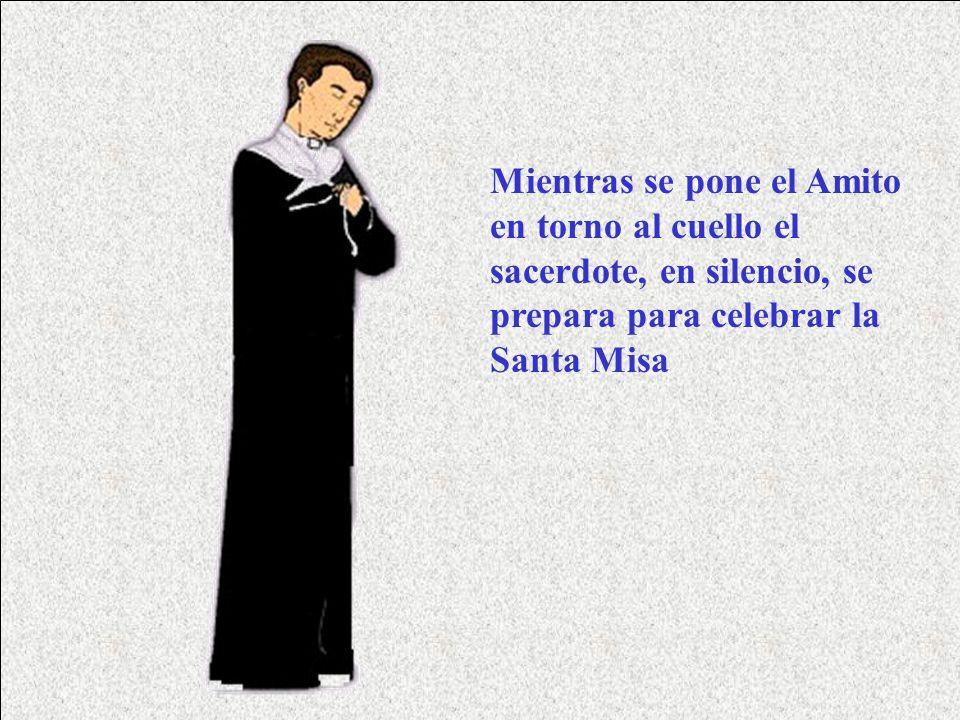 Mientras se pone el Amito en torno al cuello el sacerdote, en silencio, se prepara para celebrar la Santa Misa
