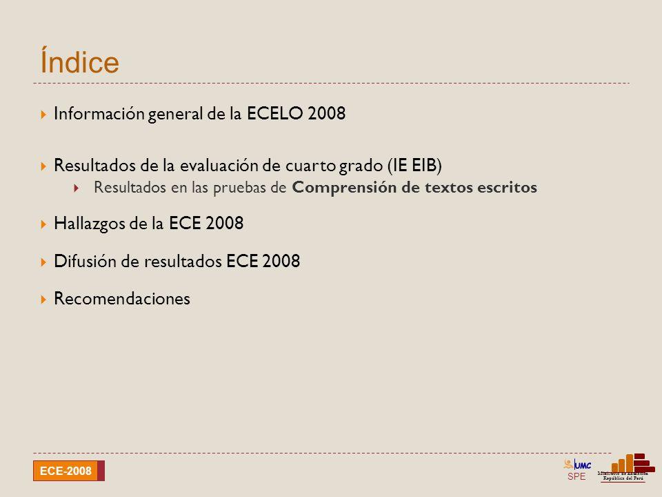 Índice Información general de la ECELO 2008