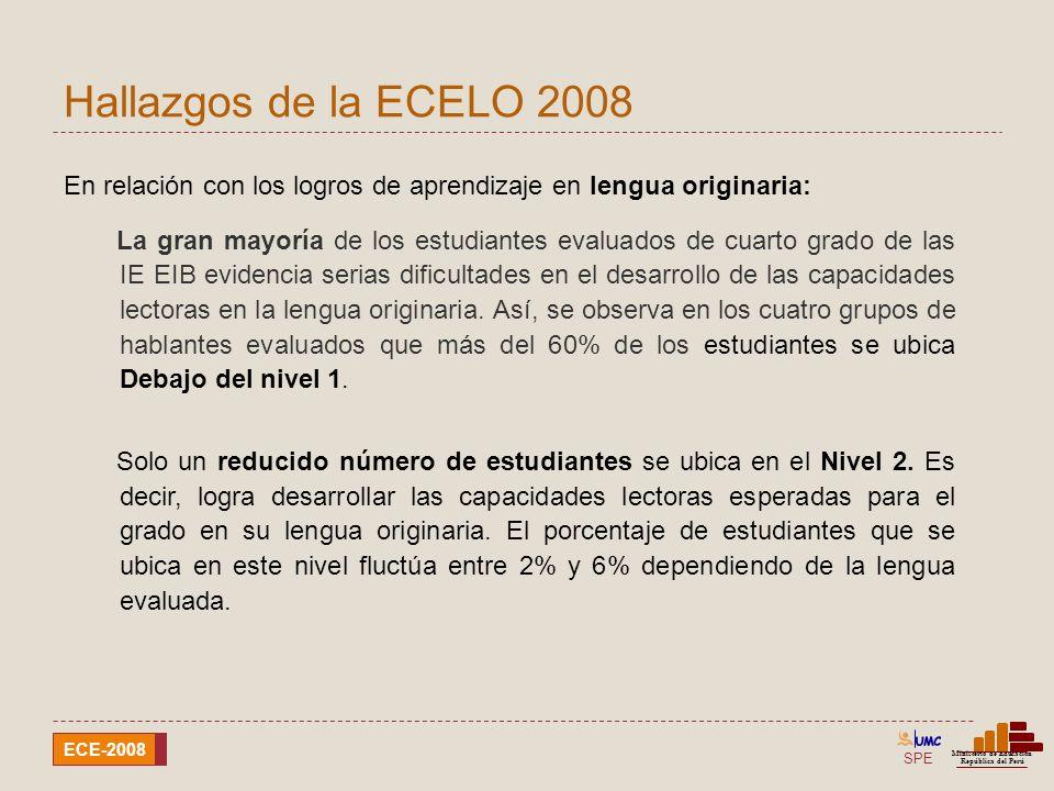 Hallazgos de la ECELO 2008 En relación con los logros de aprendizaje en lengua originaria: