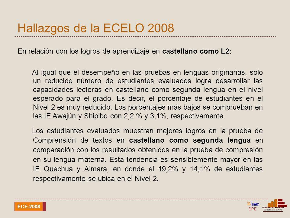 Hallazgos de la ECELO 2008 En relación con los logros de aprendizaje en castellano como L2: