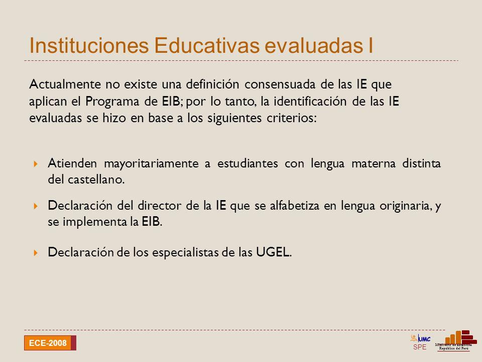 Instituciones Educativas evaluadas I