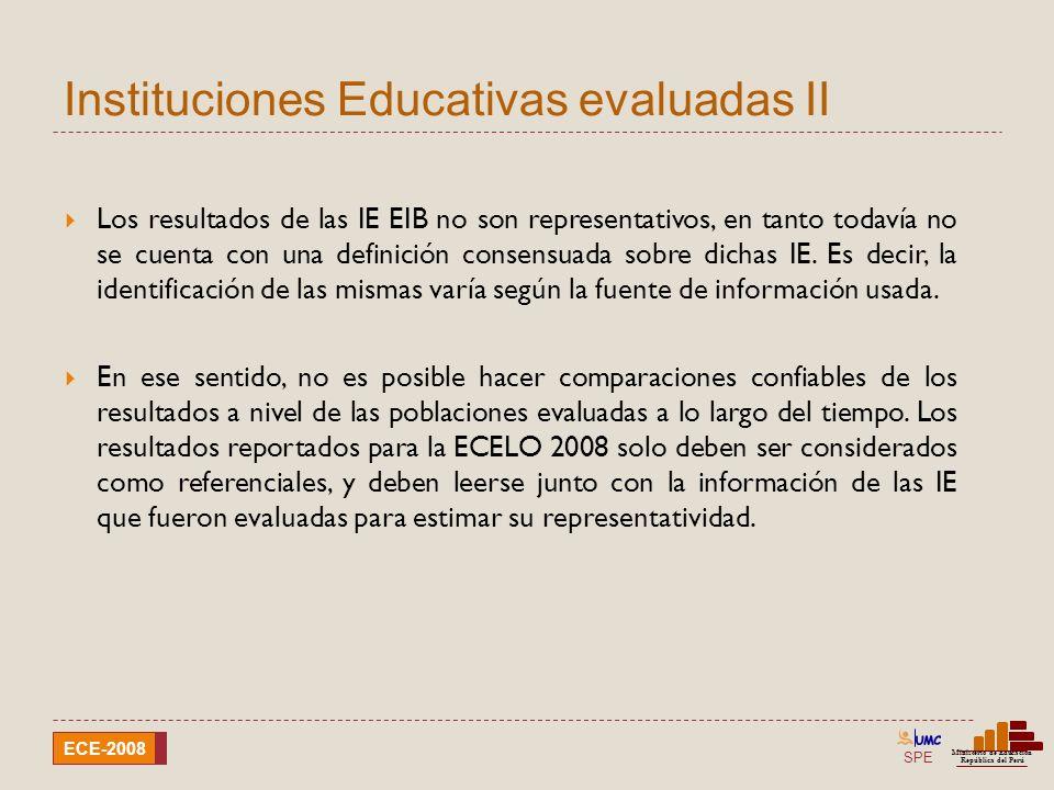 Instituciones Educativas evaluadas II