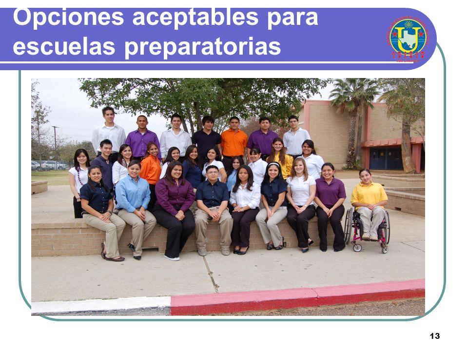 Opciones aceptables para escuelas preparatorias