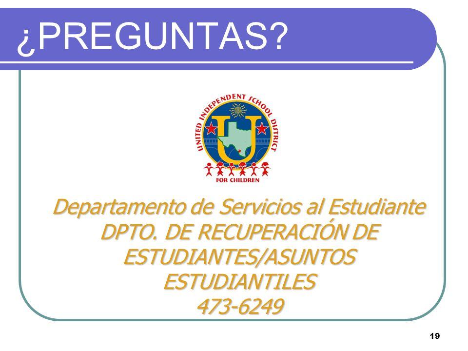¿PREGUNTAS Departamento de Servicios al Estudiante