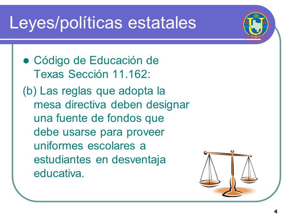 Leyes/políticas estatales