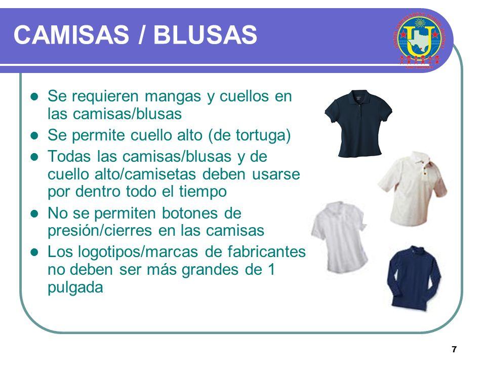 CAMISAS / BLUSAS Se requieren mangas y cuellos en las camisas/blusas