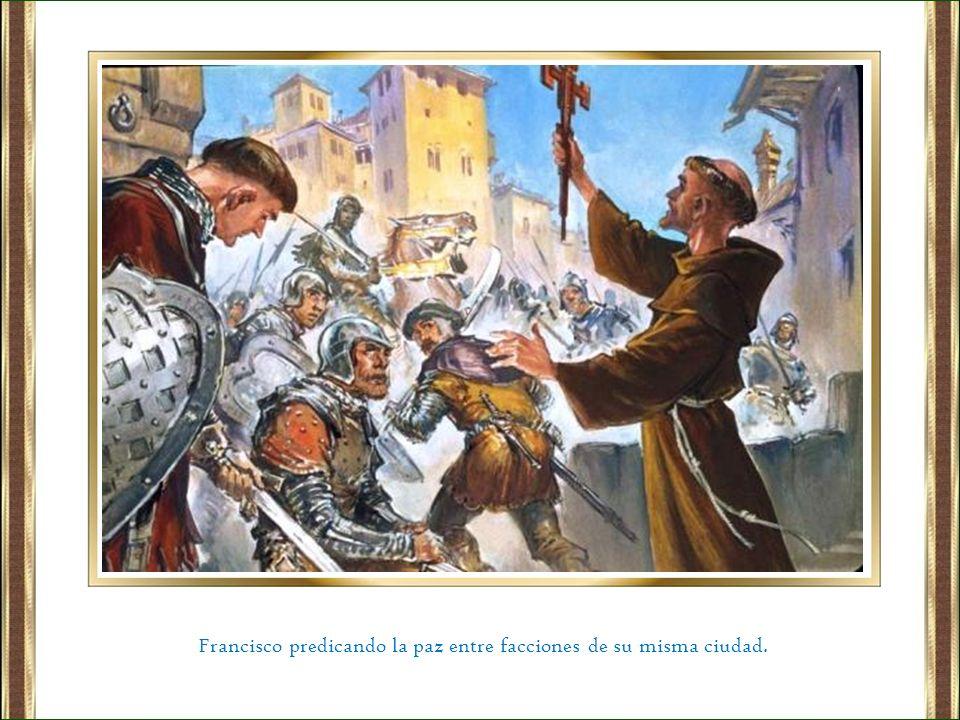 Francisco predicando la paz entre facciones de su misma ciudad.