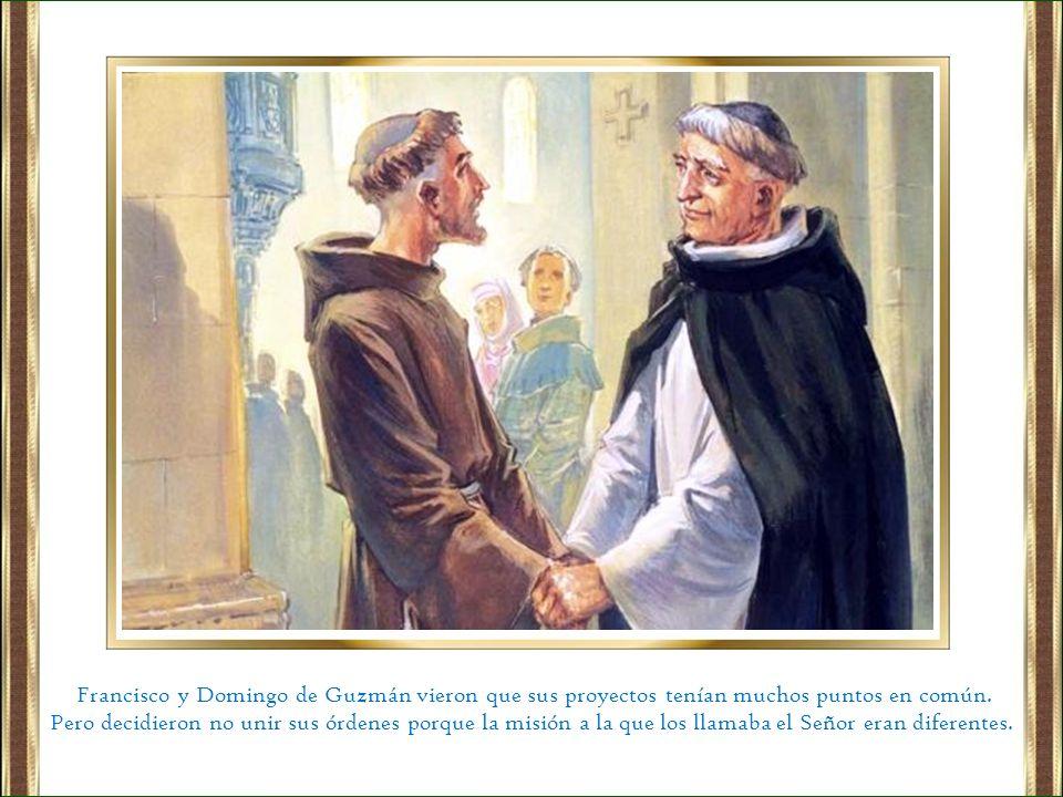 Francisco y Domingo de Guzmán vieron que sus proyectos tenían muchos puntos en común.