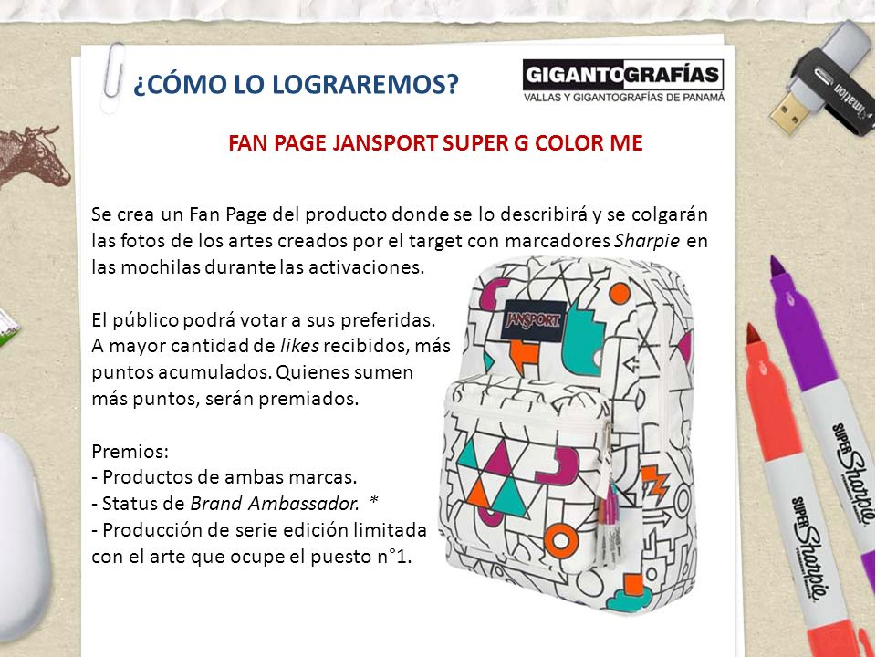 ¿CÓMO LO LOGRAREMOS FAN PAGE JANSPORT SUPER G COLOR ME
