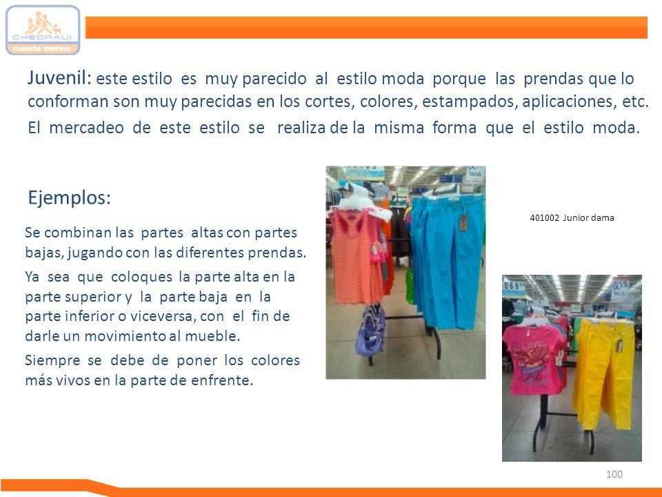 Juvenil: este estilo es muy parecido al estilo moda porque las prendas que lo conforman son muy parecidas en los cortes, colores, estampados, aplicaciones, etc.